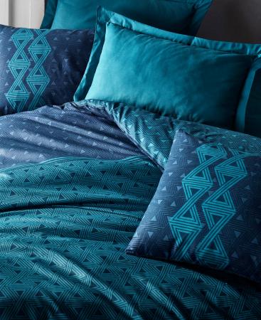 Lenjerie de pat ranforce, două persoane, bumbac 100%, Cotton Box, Amari - Petrol Blue [1]