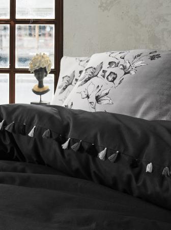 Lenjerie de pat ranforce, două persoane, bumbac 100%, Cotton Box, Daren - Black [1]