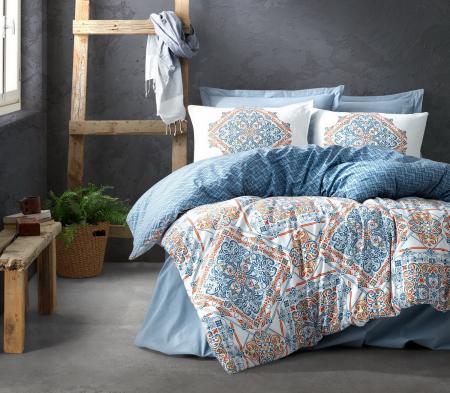 Lenjerie de pat ranforce, două persoane, bumbac 100%, Cotton Box, Grande - Blue [0]