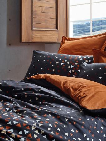 Lenjerie de pat ranforce, două persoane, bumbac 100%, Cotton Box, Colin - Cinnamon [1]