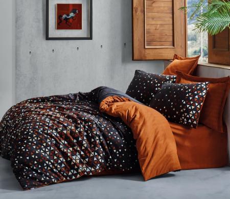 Lenjerie de pat ranforce, două persoane, bumbac 100%, Cotton Box, Colin - Cinnamon [0]