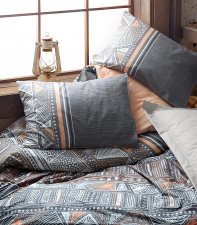 Lenjerie de pat ranforce, două persoane, bumbac 100%, Cotton Box, Adiel - Grey [1]