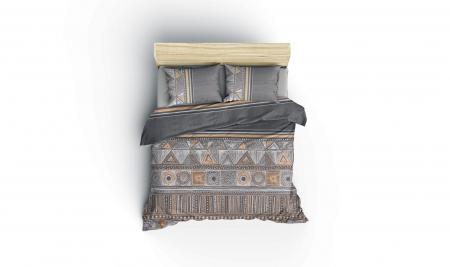 Lenjerie de pat ranforce, două persoane, bumbac 100%, Cotton Box, Adiel - Grey [2]