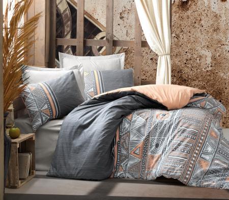 Lenjerie de pat ranforce, două persoane, bumbac 100%, Cotton Box, Adiel - Grey [0]