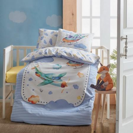 Lenjerie pătuț bebe, bumbac 100%, Cotton Box, Airplane blue [0]