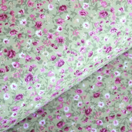 Ranforce verde cu floricele roz [0]