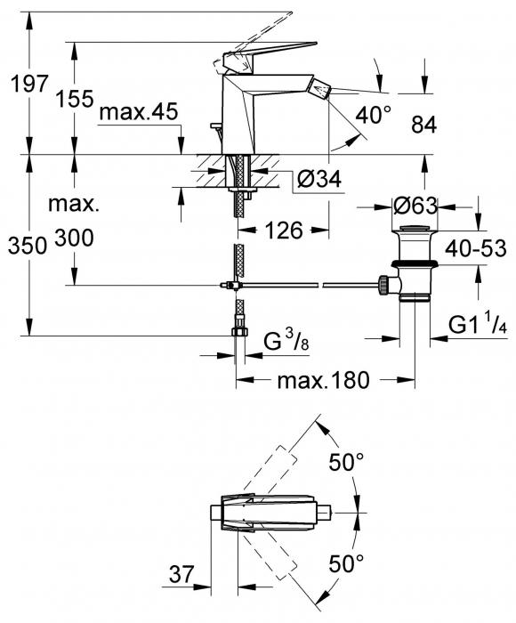 Baterie bideu monocomanda 23117000 Grohe Allure Brilliant [1]