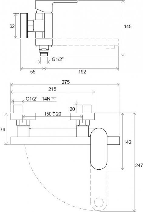 Baterie cada de perete cu brat rotativ Ravak 2