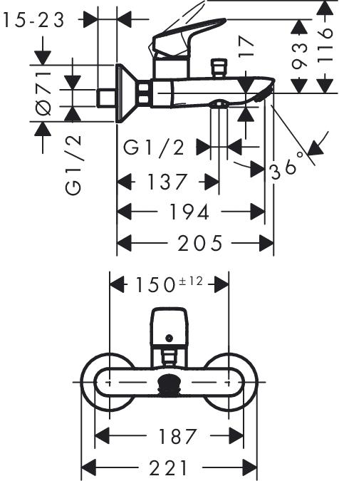 Baterie cada-dus Logis Hansgrohe 1