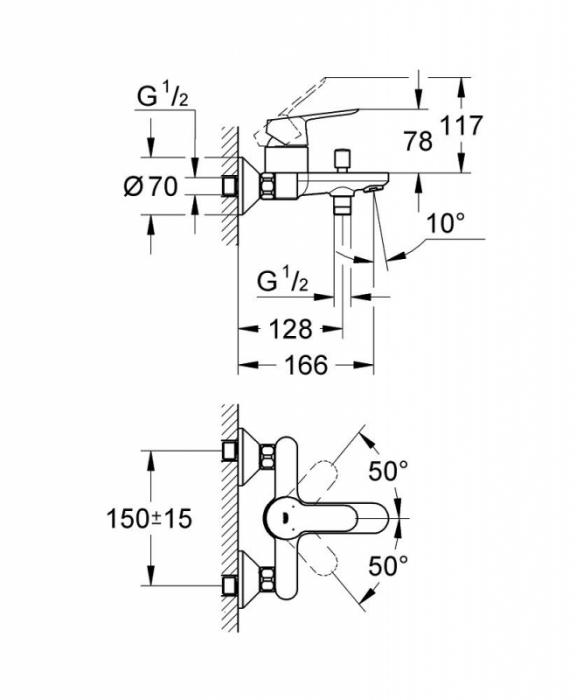 "Baterie cada-dus monocomanda 1/2"" 23334000 BauEdge Grohe 1"