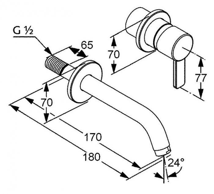 Baterie de perete monocomanda lavoar KLUDI Zenta, pipa 180mm 2
