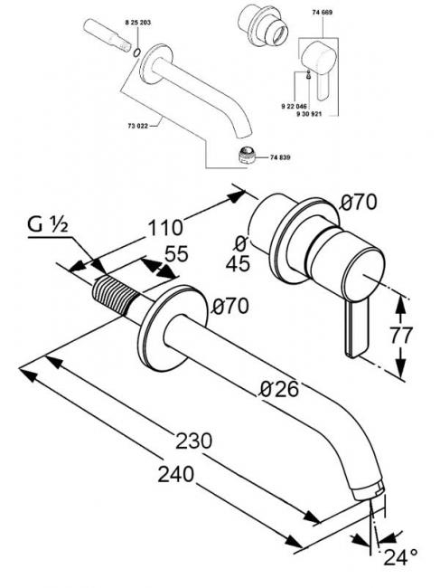 Baterie de perete monocomanda lavoar KLUDI Zenta pipa 230mm 2