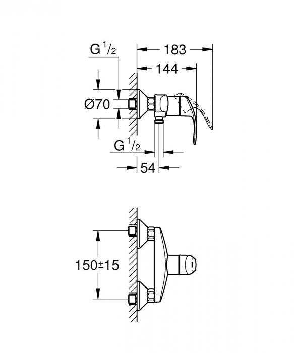 "Baterie dus monocomanda 1/2"" 33555002 Eurosmart Grohe [1]"
