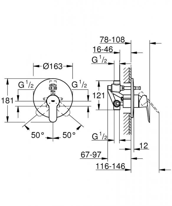 Baterie incastrata Corp si Set finish cada-dus BauEdge 29079000 Grohe [1]