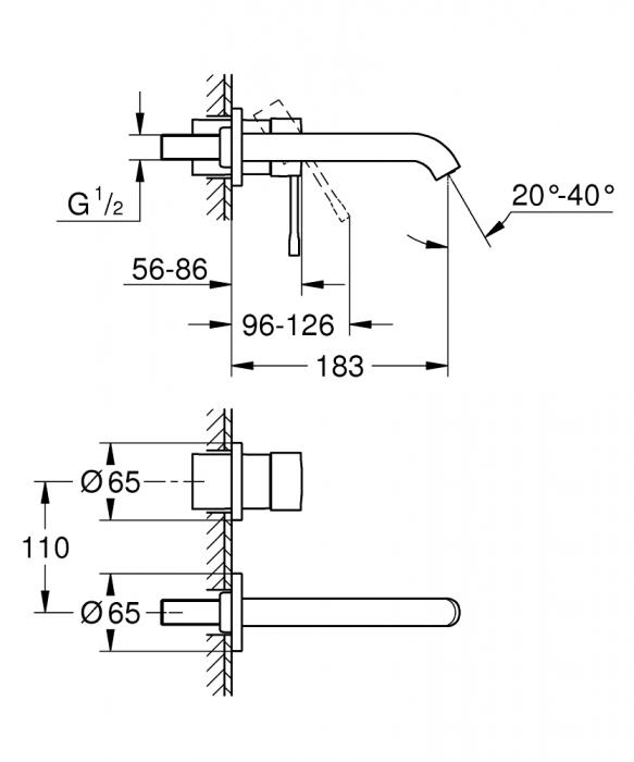 Baterie incastrata Set finish 19408001 Lavoar Perete Grohe Essence 1