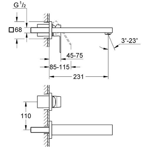 Baterie incastrata Set finish 23447000 Lavoar Perete Grohe Eurocube M 2