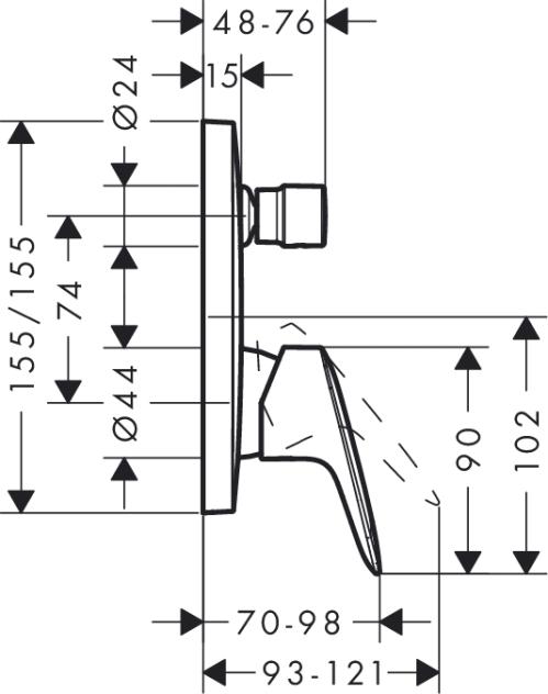 Baterie incastrata Set finish cada-dus Logis Hansgrohe 1