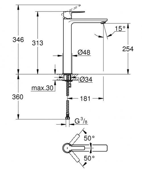 Baterie lavoar inalta 23405001 Grohe Lineare, monocomandă 1/2″ mărimea XL [2]