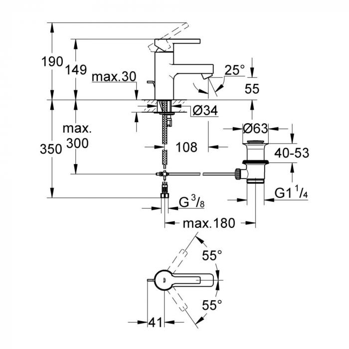 Baterie lavoar 32114001 Grohe Lineare [1]