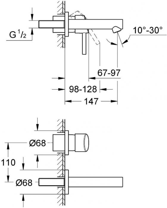 """Baterie lavoar cu 2 gauri 1/2"""" 19575001 Grohe Concetto 1"""