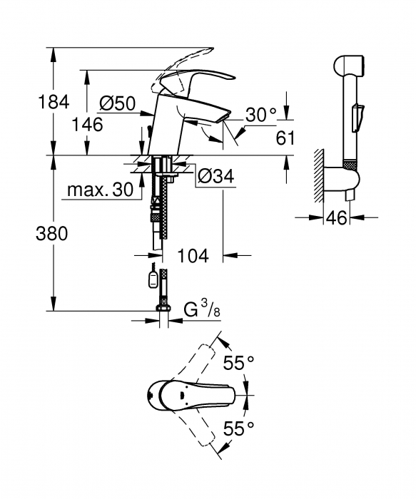 Baterie lavoar cu functie de bideu 23124002 Eurosmart S-Size Grohe [1]
