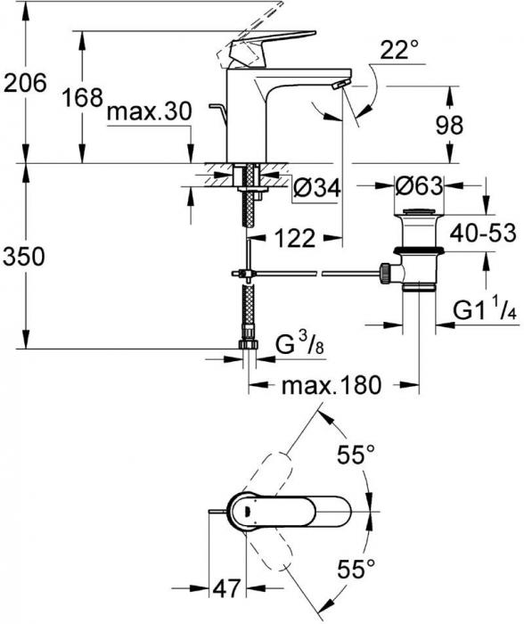 Baterie lavoar cu inaltime medie 23325000 Grohe Eurosmart Cosmopolitan M 1