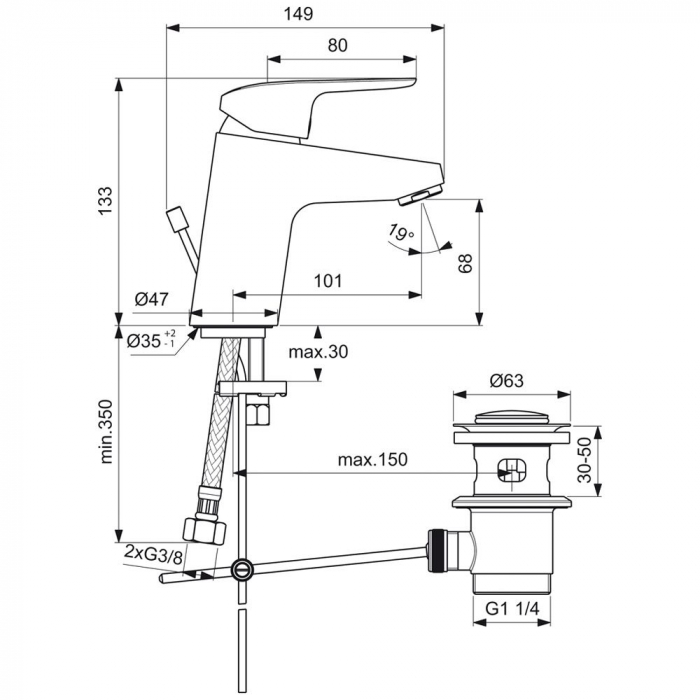 Baterie lavoar cu ventil Ceraflex Ideal Standard 1