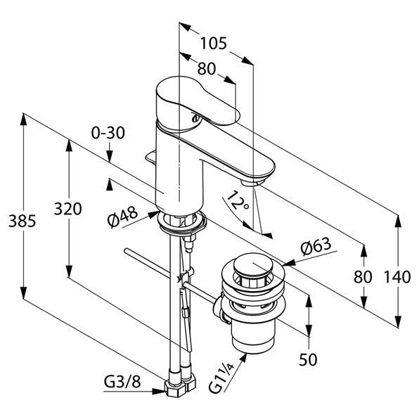 Baterie lavoar cu ventil OBJECTA Kludi 322330575 [1]