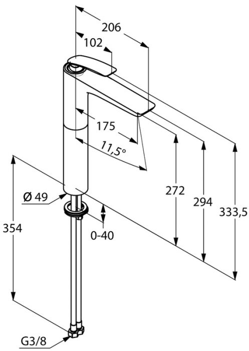Baterie lavoar inalta DN 10 KLUDI Balance 272mm crom-alb 5