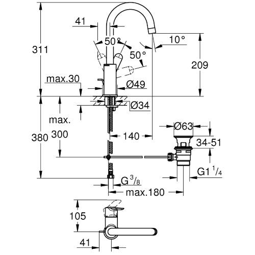 Baterie lavoar inalta monocomanda 23760000 Grohe Bauedge L 1