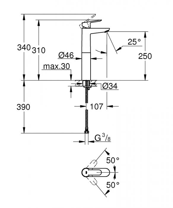 Baterie lavoar inalta monocomanda 23761000 Grohe Bauedge XL 1