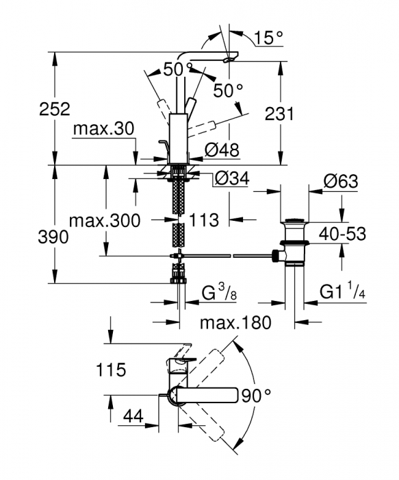 """Baterie lavoar monocomandă 1/2"""" 23296001 Grohe Lineare 1"""
