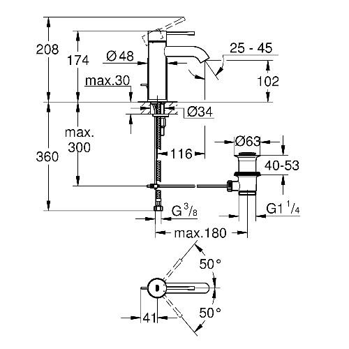 "Baterie lavoar monocomand─â 1/2"" 23589001 Grohe Essence S [2]"