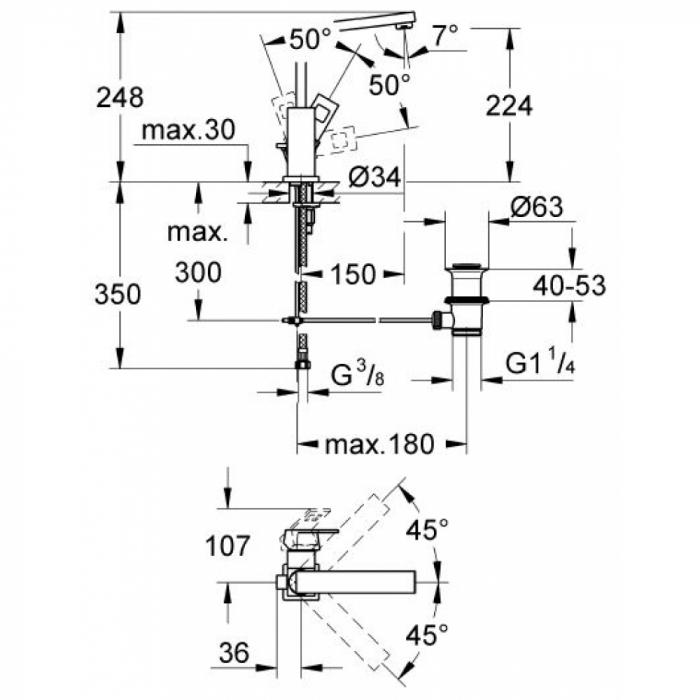 Baterie lavoar monocomanda 23135000 Grohe Eurocube L 1