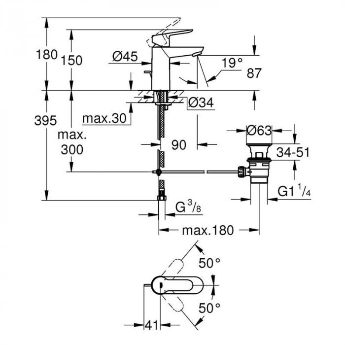 Baterie lavoar monocomanda 23328000 Grohe Bauedge S 1