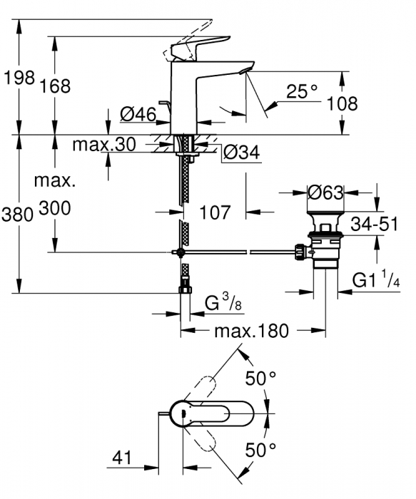 Baterie lavoar monocomanda 23758000 Grohe Bauedge M 1
