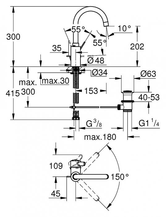 Baterie lavoar monocomanda 32830001 Grohe Eurosmart Cosmopolitan L [1]