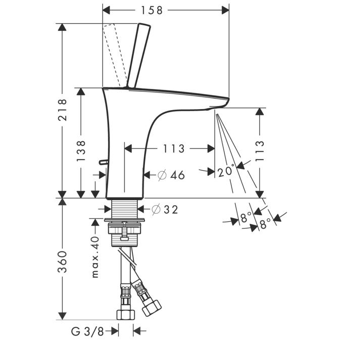 Baterie lavoar Pura Vida cu ventil HANSGROHE 4