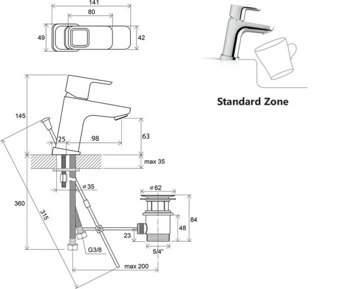 Baterie lavoar stativa TD 011.00 Ravak cu ventil [4]
