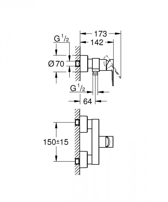 Baterie monocomanda pentru dus 33865001 Grohe Lineare 1
