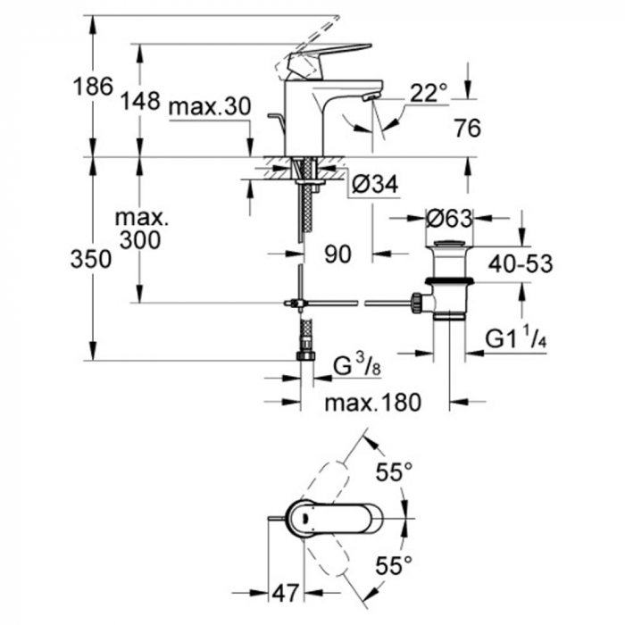 Baterie pentru lavoar 32825000 Grohe Eurosmart Cosmopolitan S [1]