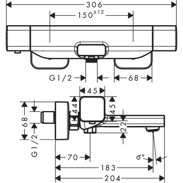 Baterie termostatică cadă Ecostat E Hansgrohe [4]