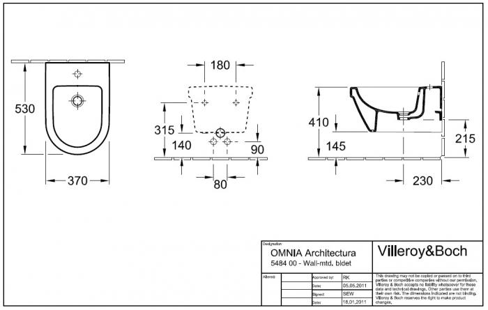 Bideu suspendat Architectura VILLEROY&BOCH 54840001 1