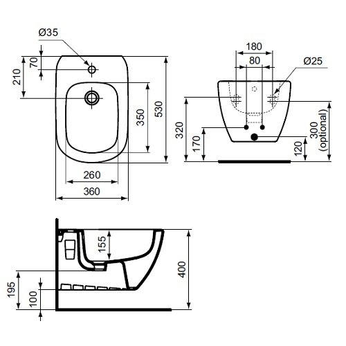 Bideu suspendat Tesi Ideal Standard T355201 1