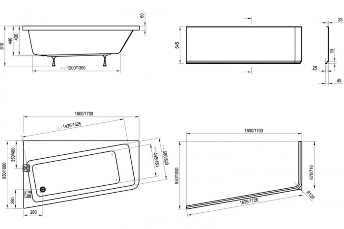 Cada Concept 10┬░ 160x95 Ravak snowwhite stanga/dreapta 1