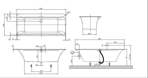Cada Squaro Edge 12(180*80cm) VILLEROY&BOCH UBQ180SQE7PDT1V96 2