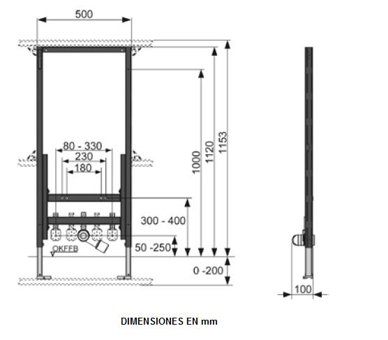 Cadru TECE pentru bideu montat pe perete. Inaltime 1120 mm 1