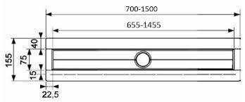 Canal de dus TECE drainline drept, cu flansa si banda de etansare Seal System L=700mm 6