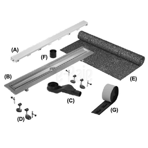Canal5 de dus TECE drainline pentru piatra naturala, dreapta, cu membrana de etansare Seal System, inclusiv placa suport pentru partea centrala detasabila L = 120cm 4