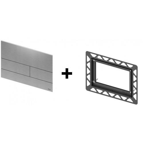 Clapeta de actionare in doua trepte, din sticla, placa alba, butoane otel inox mat square TECE 2